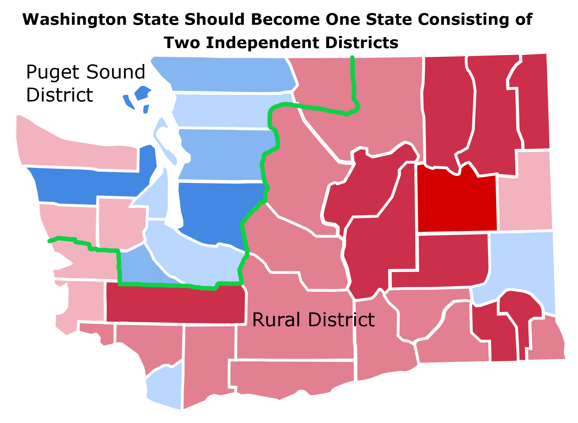 Washington State Should Become One State Consisting of Two Totally Independent Districts