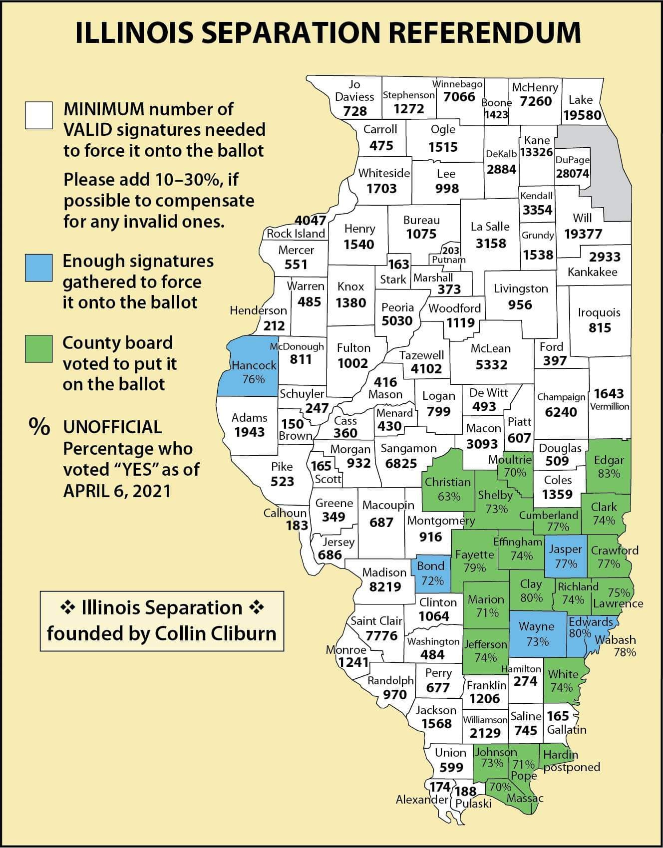 24 Illinois Counties Voted to Separate from Chicago